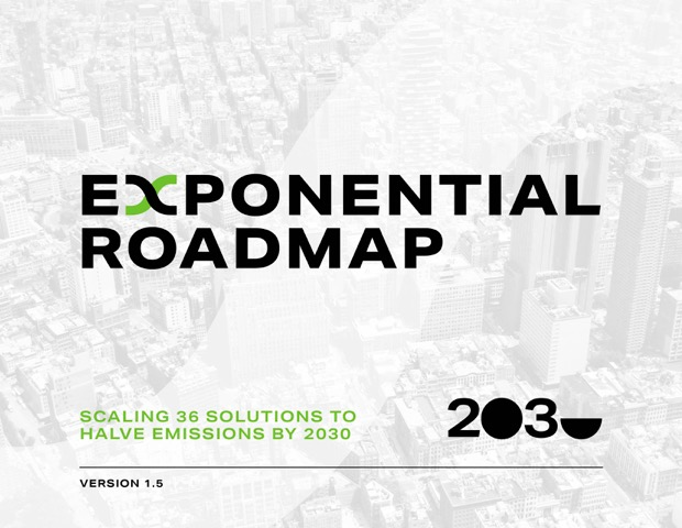 Text: Exponential Roadmap. Scaling 36 solutions to halve emissions by 2030.